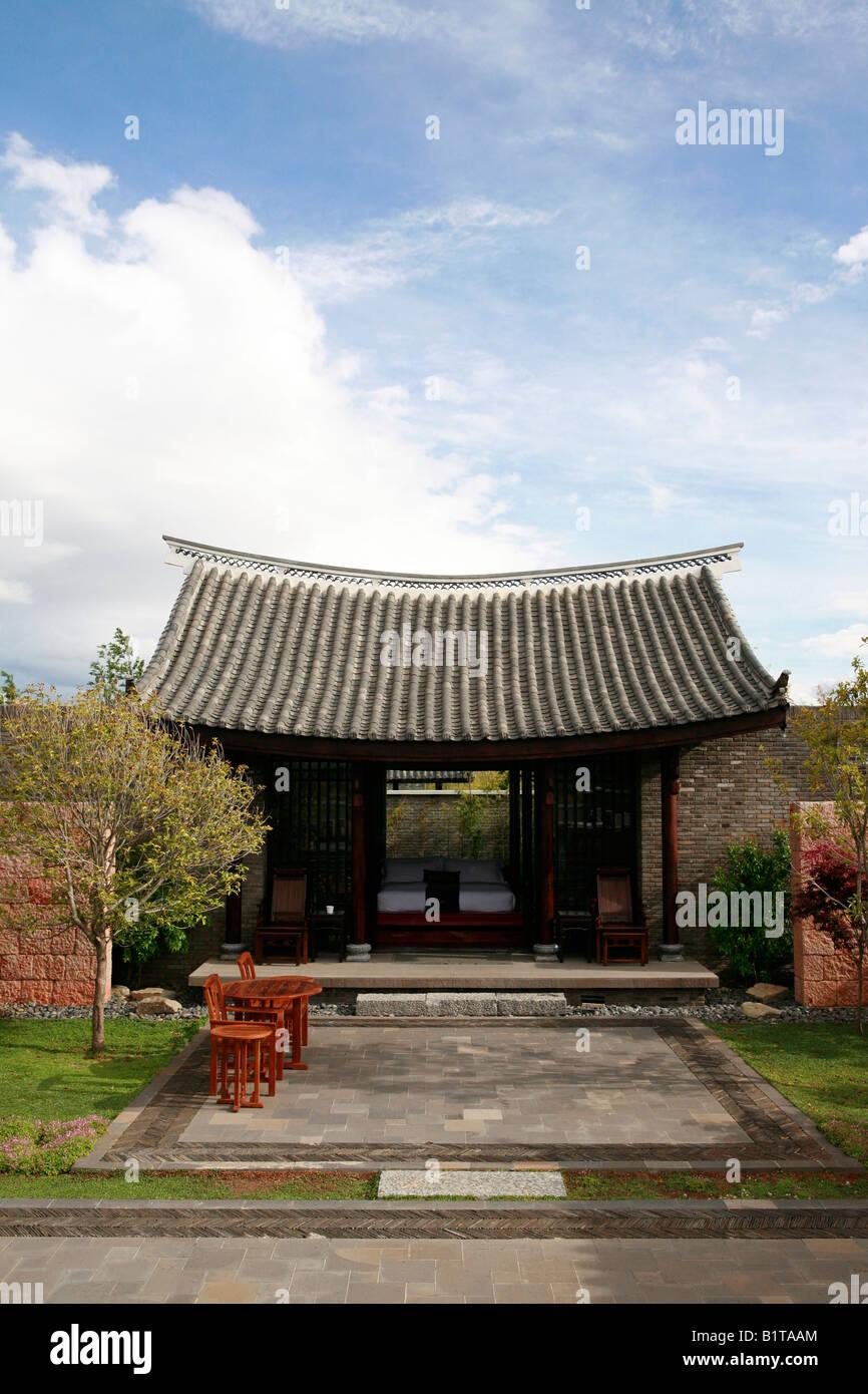 Stock photo villa at the banyan tree resort lijiang yunnan china