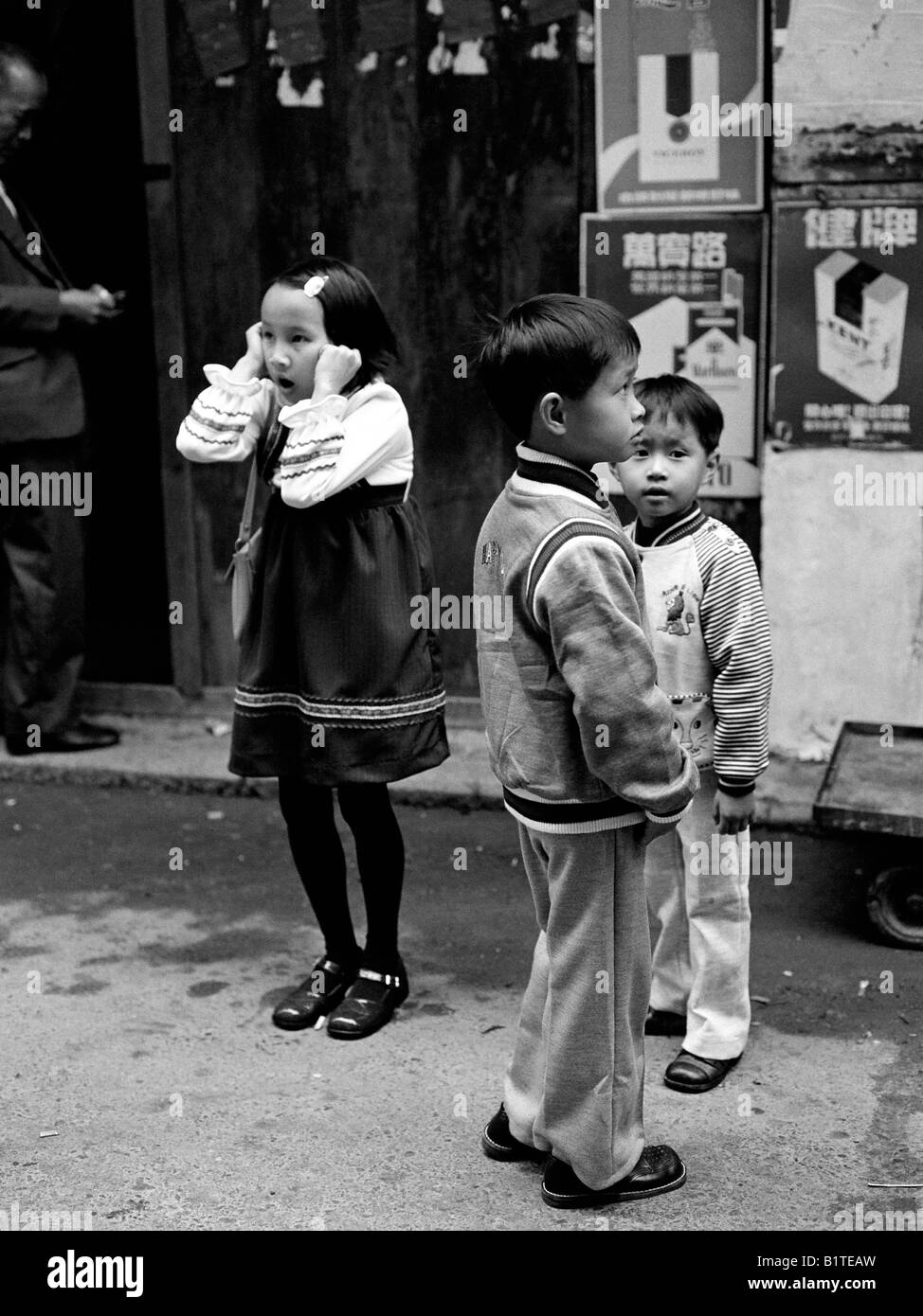 chinese children in their best clothes at chinese new year stanley village hong kong 1978 - Chinese New Year 1978