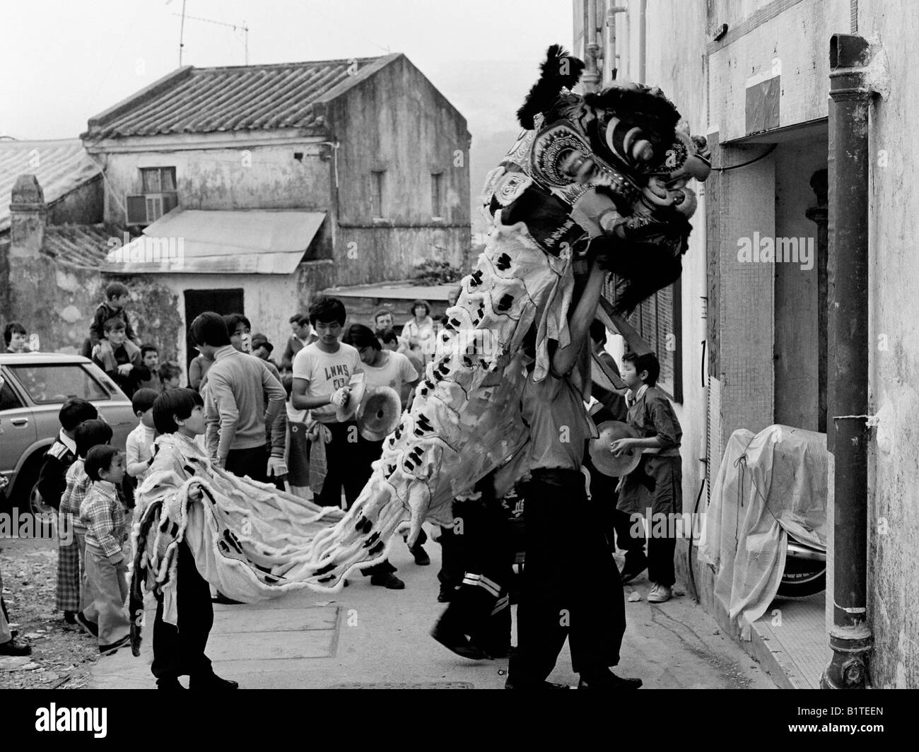 lion dance first footing at chinese new year stanley village hong kong 1978 - Chinese New Year 1978