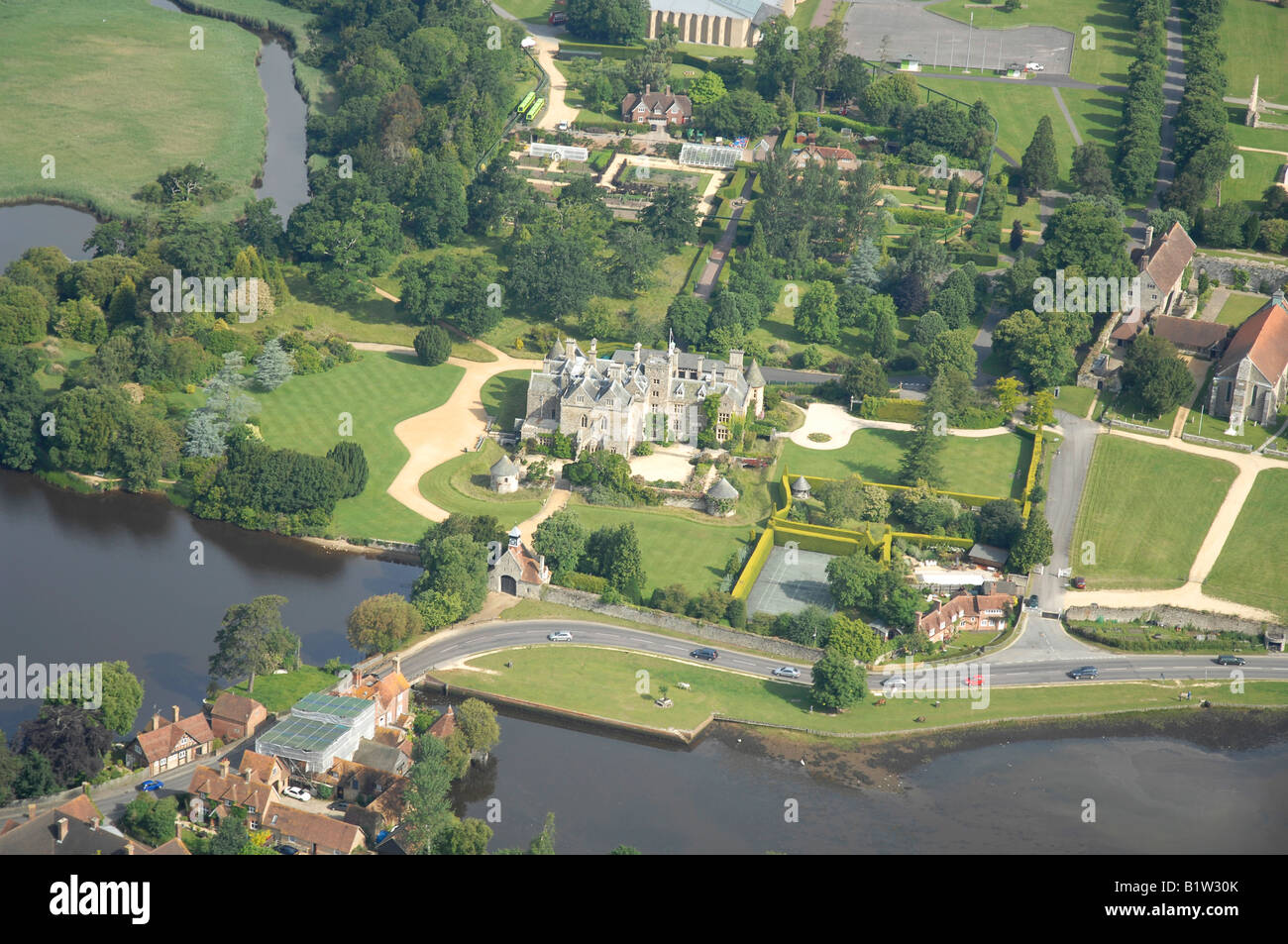 Aerial view of palace house beaulieu in the new forest for See images of my house