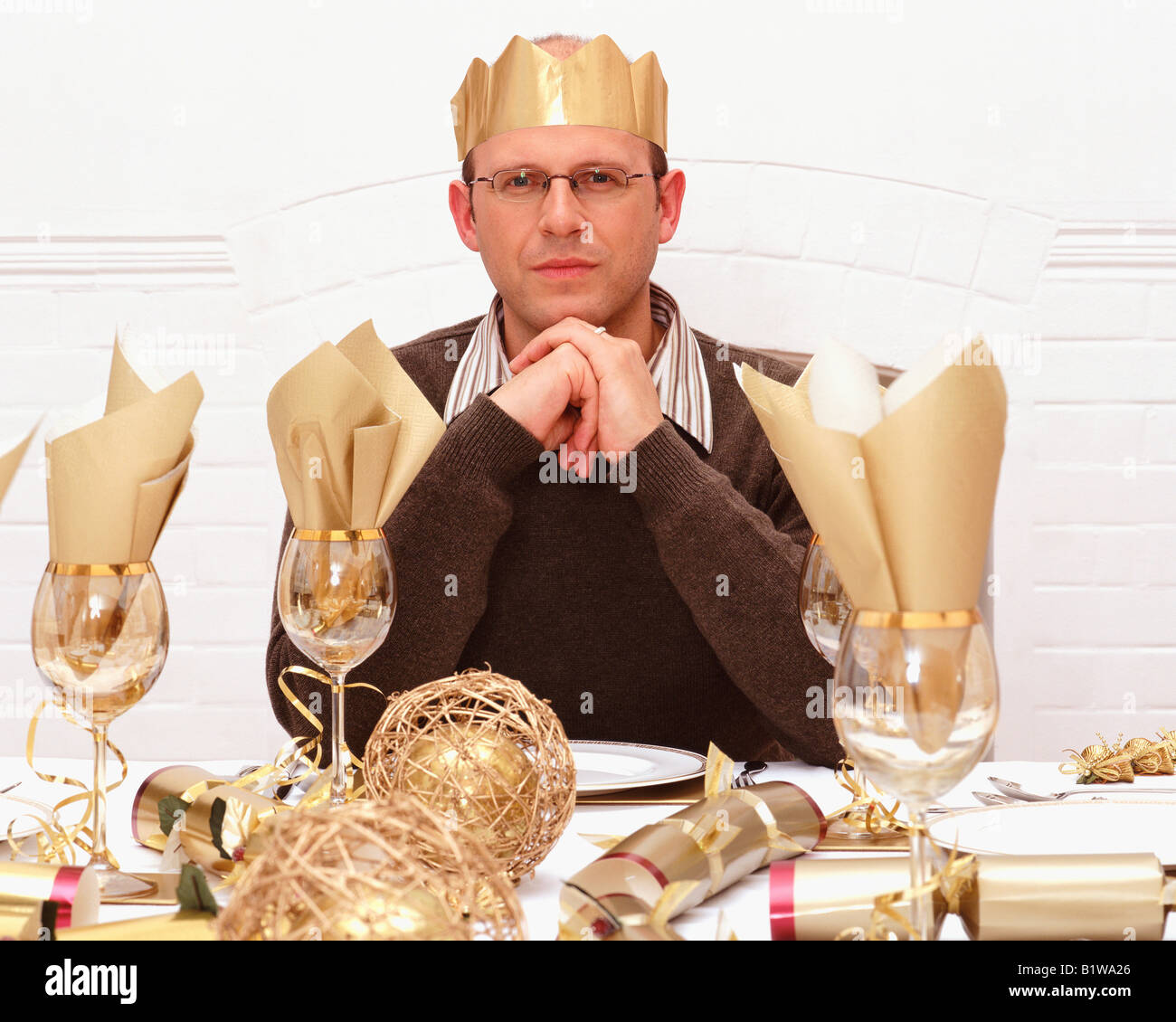 Dad At Christmas Dinner Table Stock Photo Royalty Free