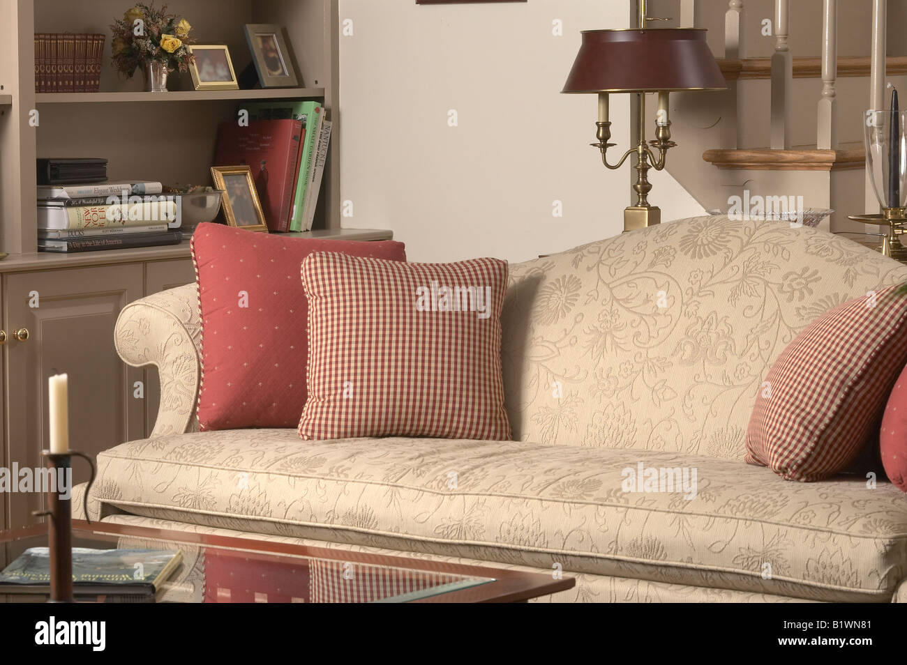 Empty sofa couch chair in nice living room sitting parlor for Nice living room furniture chairs