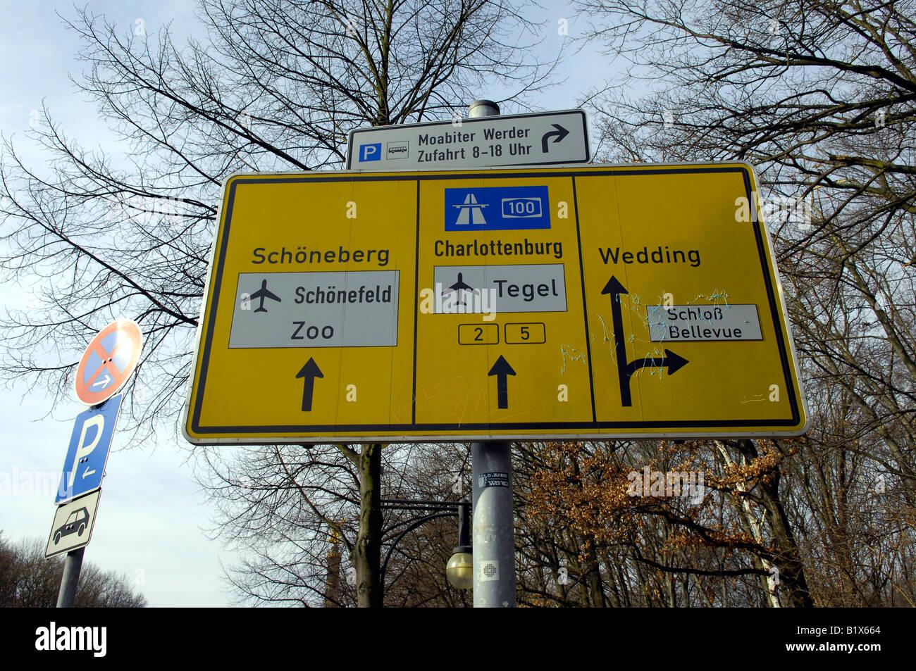 Airport Road Signs Tegel Schonefeld Berlin Germany Deutschland Tiergarten Travel Tourism Yellow Wedding