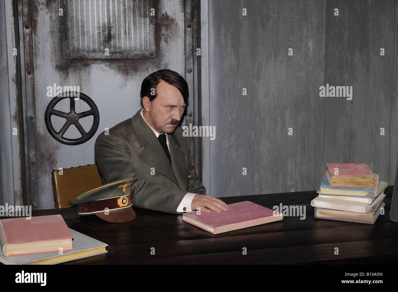 wax figure of adolf hitler at berlin madame tussauds exhibition stock photo royalty free image. Black Bedroom Furniture Sets. Home Design Ideas