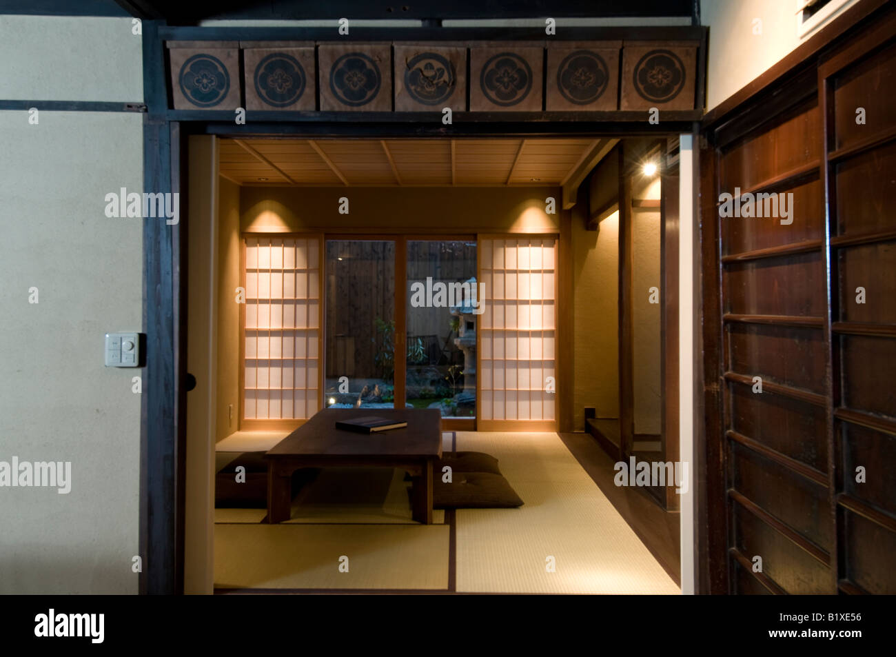 Japan Traditional Home Interior Living Room With Sliding Doors And Tatami  Mats On The Floor Looking Part 55