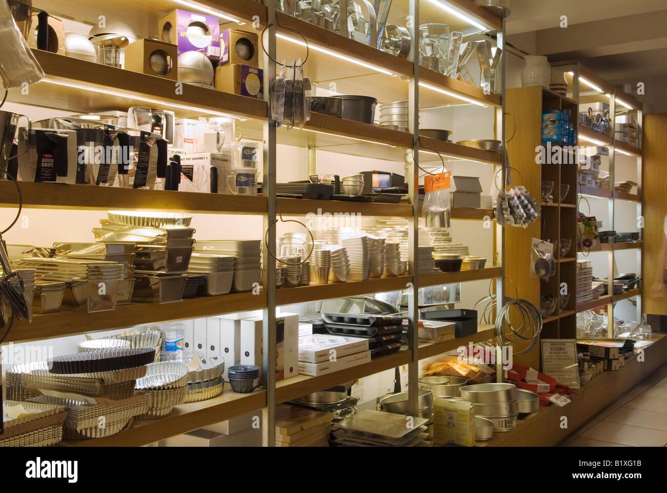 Interior Divertimenti Kitchen Equipment Shop Maryledbone High Street.  London   Stock Photo