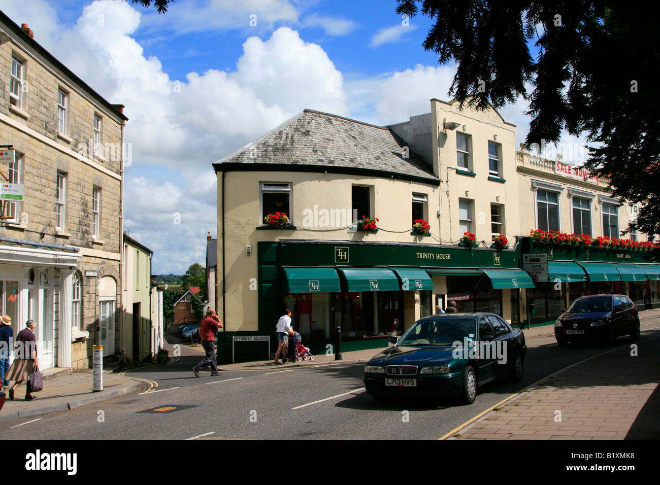 Axminster Town Centre High Street Shops Devon England Uk