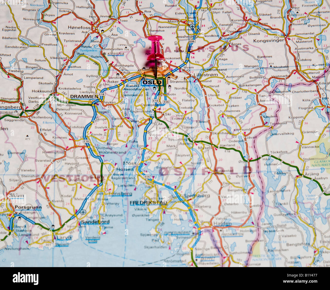 Road map of oslo norway europe stock photo 18421067 alamy road map of oslo norway europe publicscrutiny Image collections