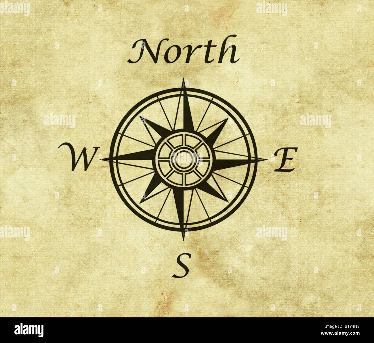 Great north arrow and compass on old parchment map with copy space great north arrow and compass on old parchment map with copy space biocorpaavc