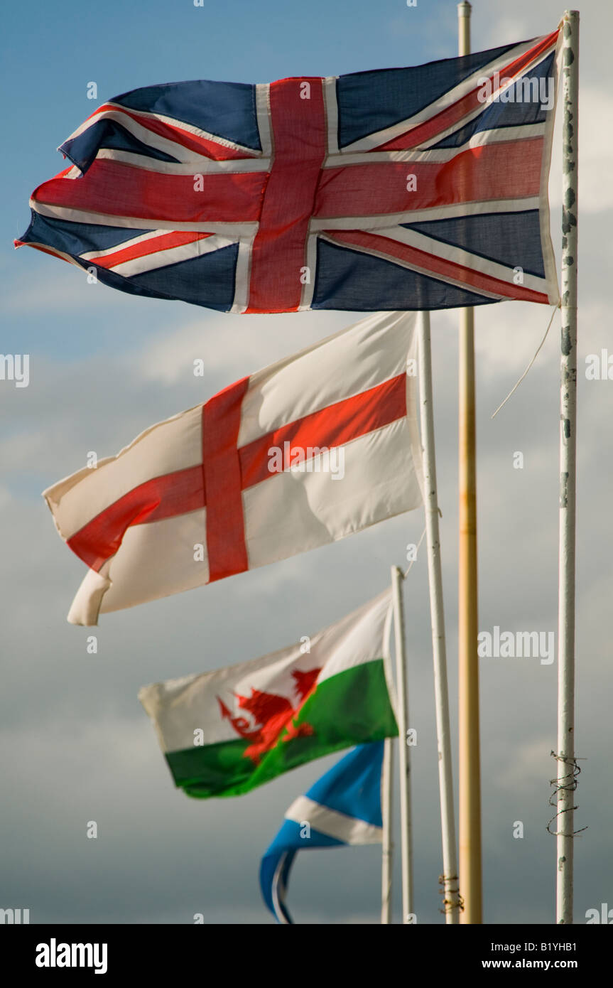 a union jack banner flying with the flags of england wales and