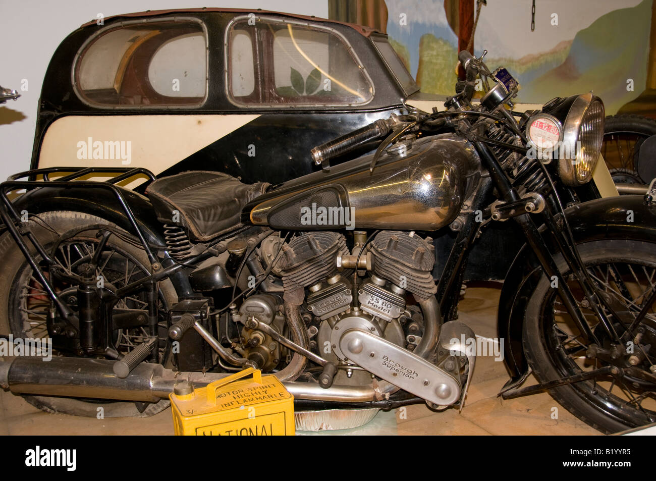 Brough superior motorbike and sidecar vintage stock image