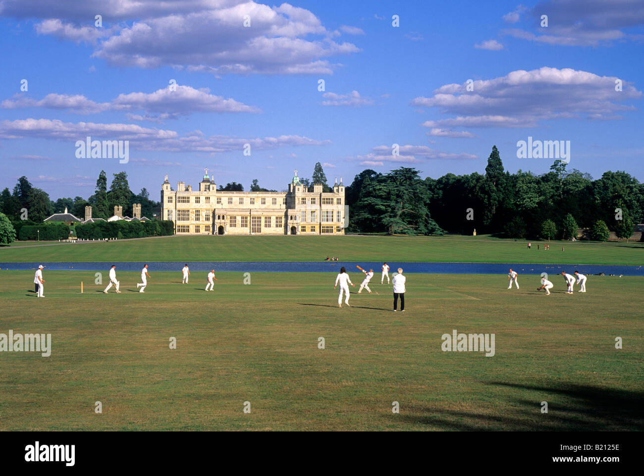cricket match audley end house essex traditional quintessential cricket match audley end house essex traditional quintessential english scene view cricketers playing stately home east anglia