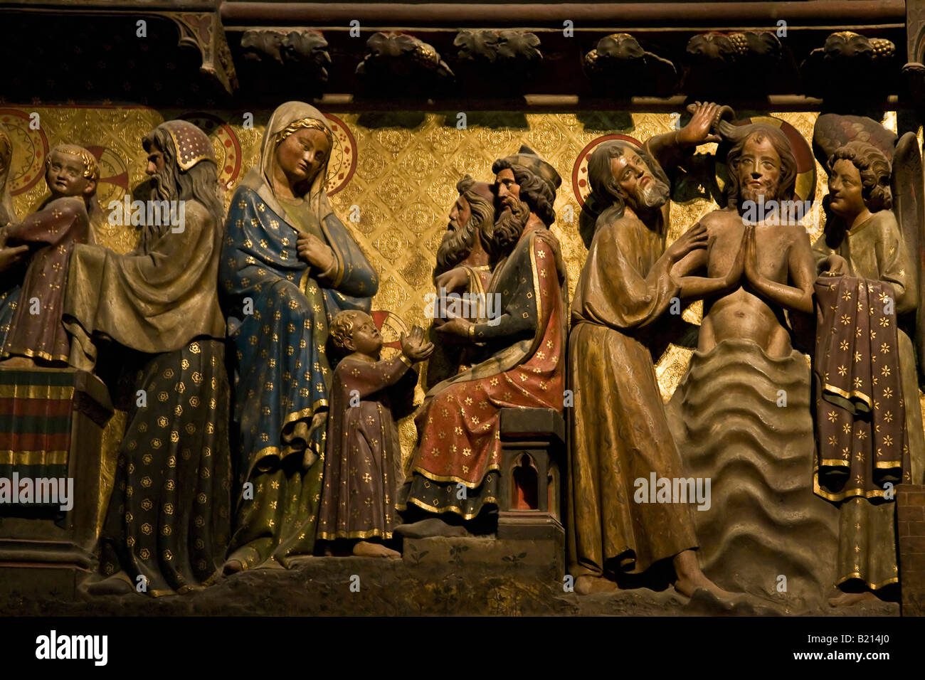 14th century painted wood carvings of the life of jesus on choir