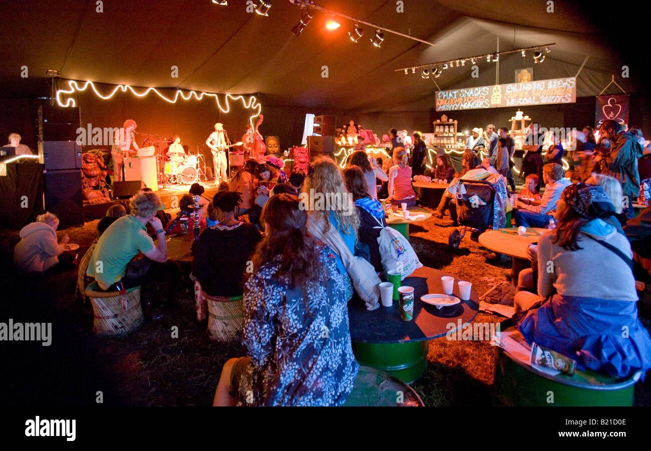Band Playing Inside A Cafe Tent Glastonbury Festival Pilton Somerest UK Europe & Band Playing Inside A Cafe Tent Glastonbury Festival Pilton ...