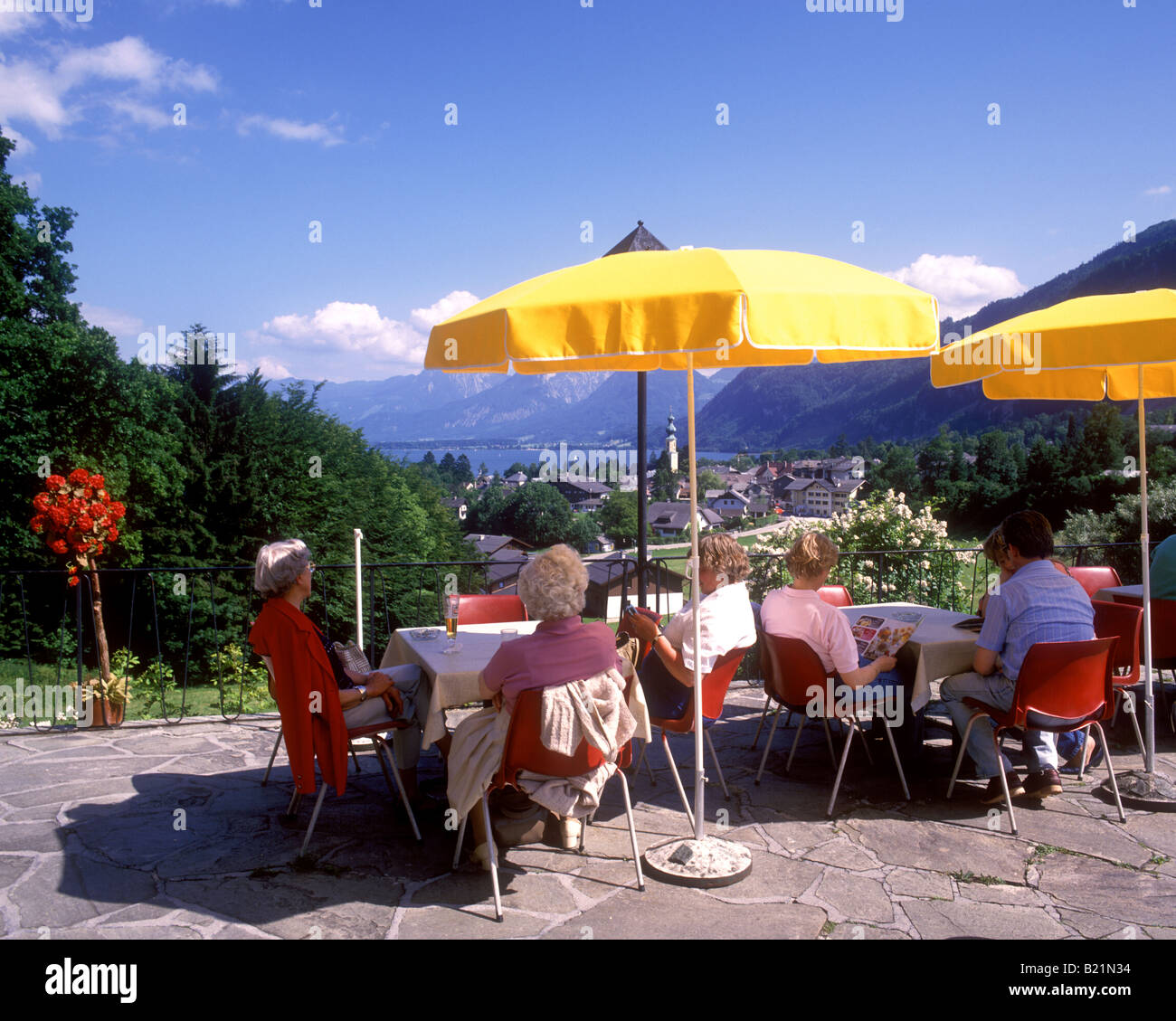 Austria Colourful view of Wolfgangsee from Cafe Haus am
