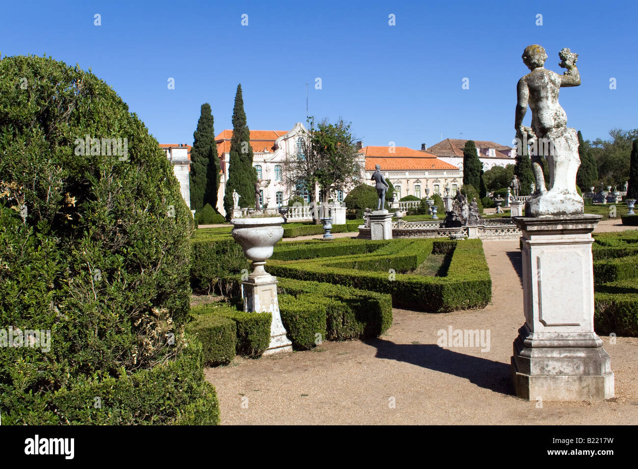 Captivating Neptune Gardens (baroque) And One Of The Facades Of The Queluz Royal Palace  (Portugal).