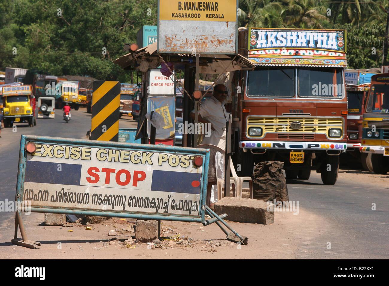 Truck approaches kerala state customs checkpoint at kasaragod karnataka stock image