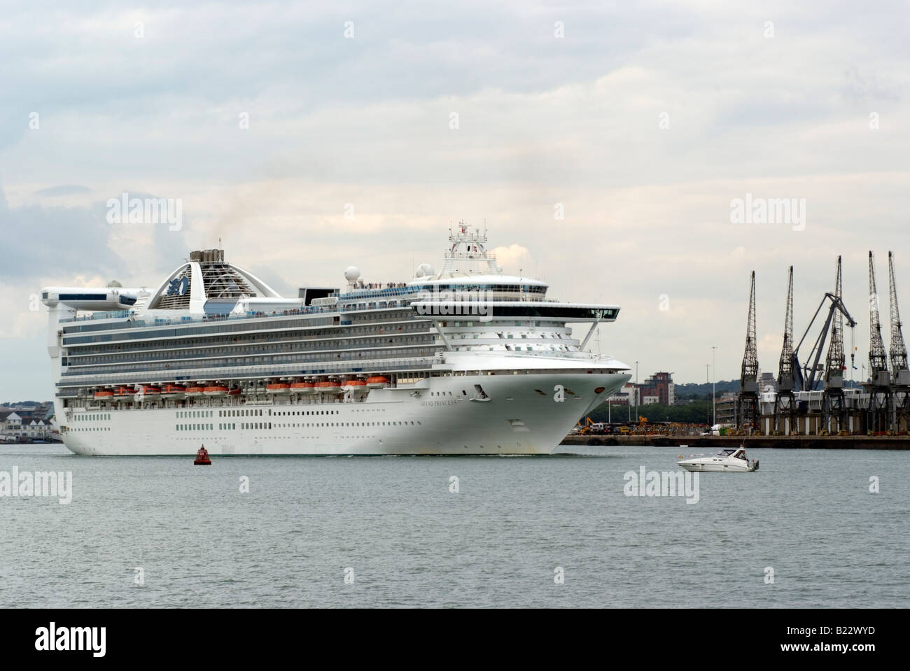 Grand Princess Cruise Ship On Southampton Water Under A Heavy Grey - How heavy is a cruise ship