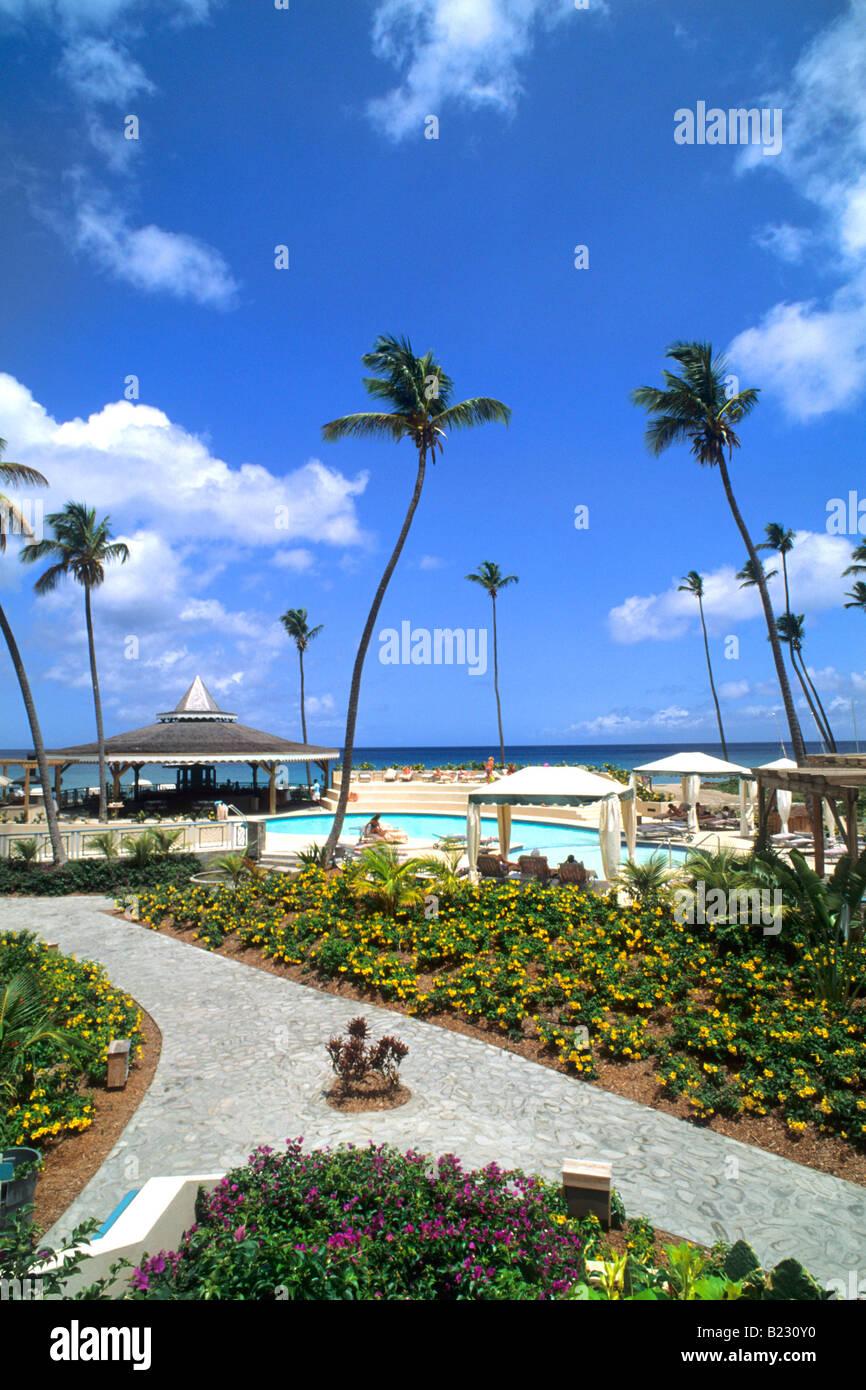 Stock photo tourist resort on beach nevis saint kitts and nevis