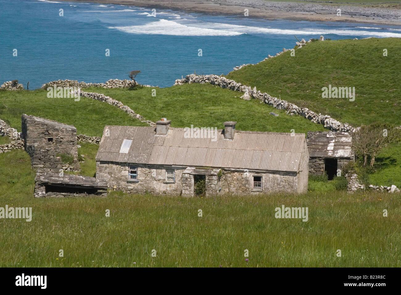 Stone House By The Sea Near Doolin Ireland Stock Photo