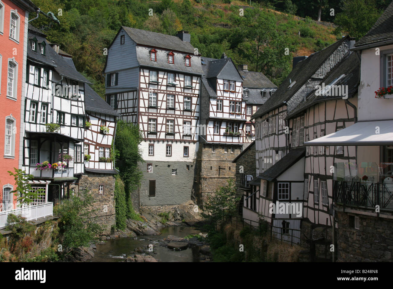 Traditional German Architecture Fachwerk In The Town Of Monschau Stock Photo Royalty Free