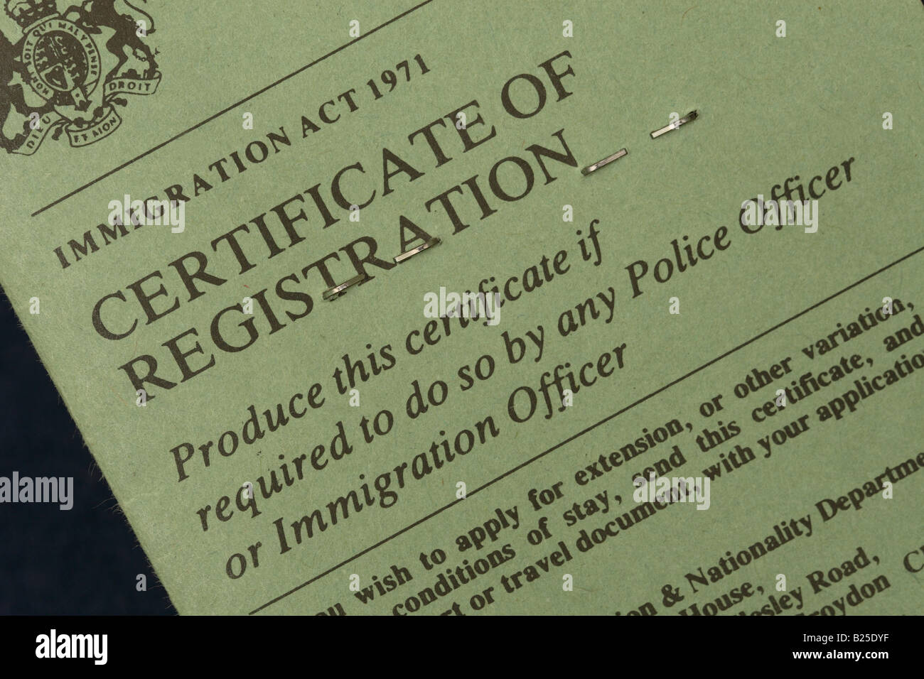 Certificate of Registration Home Office paperwork form for ...