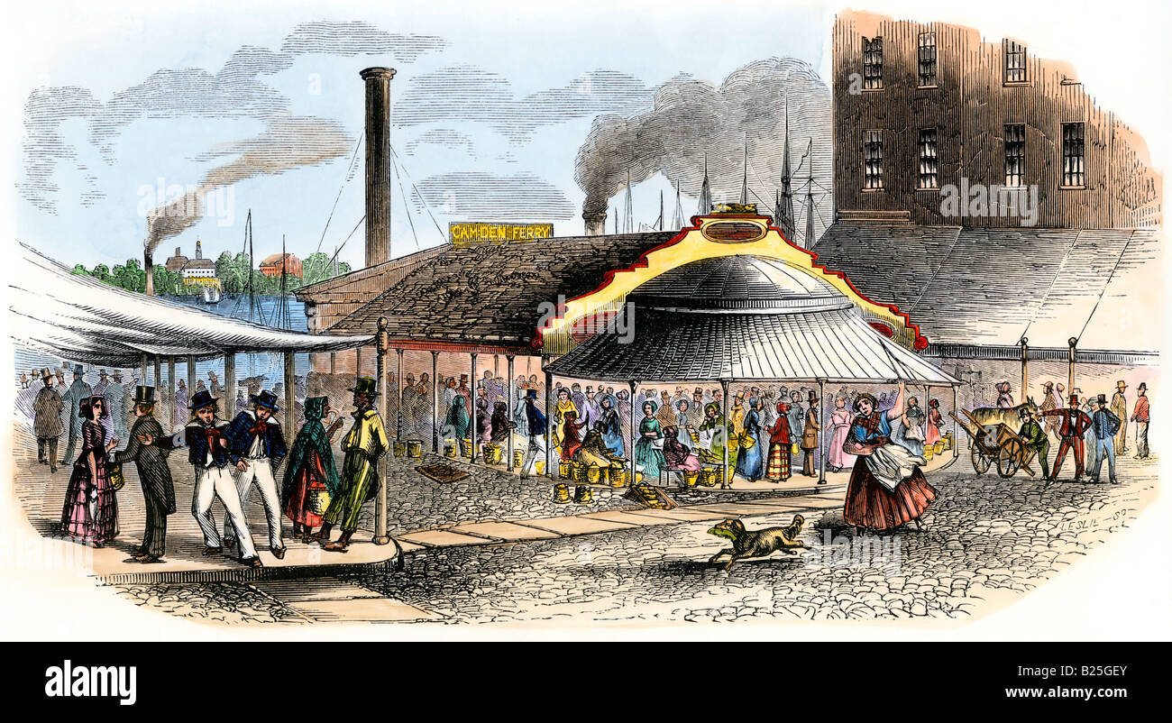 Fish market on the delaware river in philadelphia 1850s for Fish market philadelphia