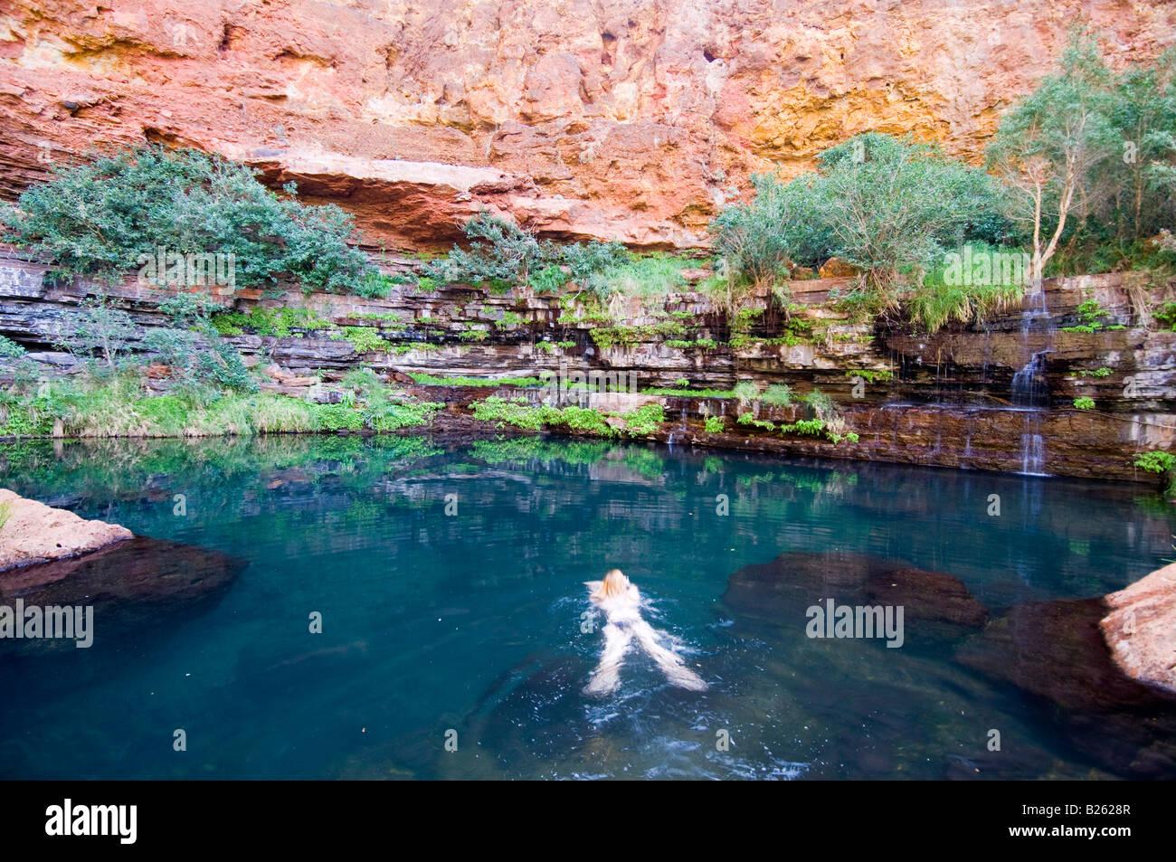 Swimming At Circular Pool In Karijini National Park Western Stock Photo Royalty Free Image