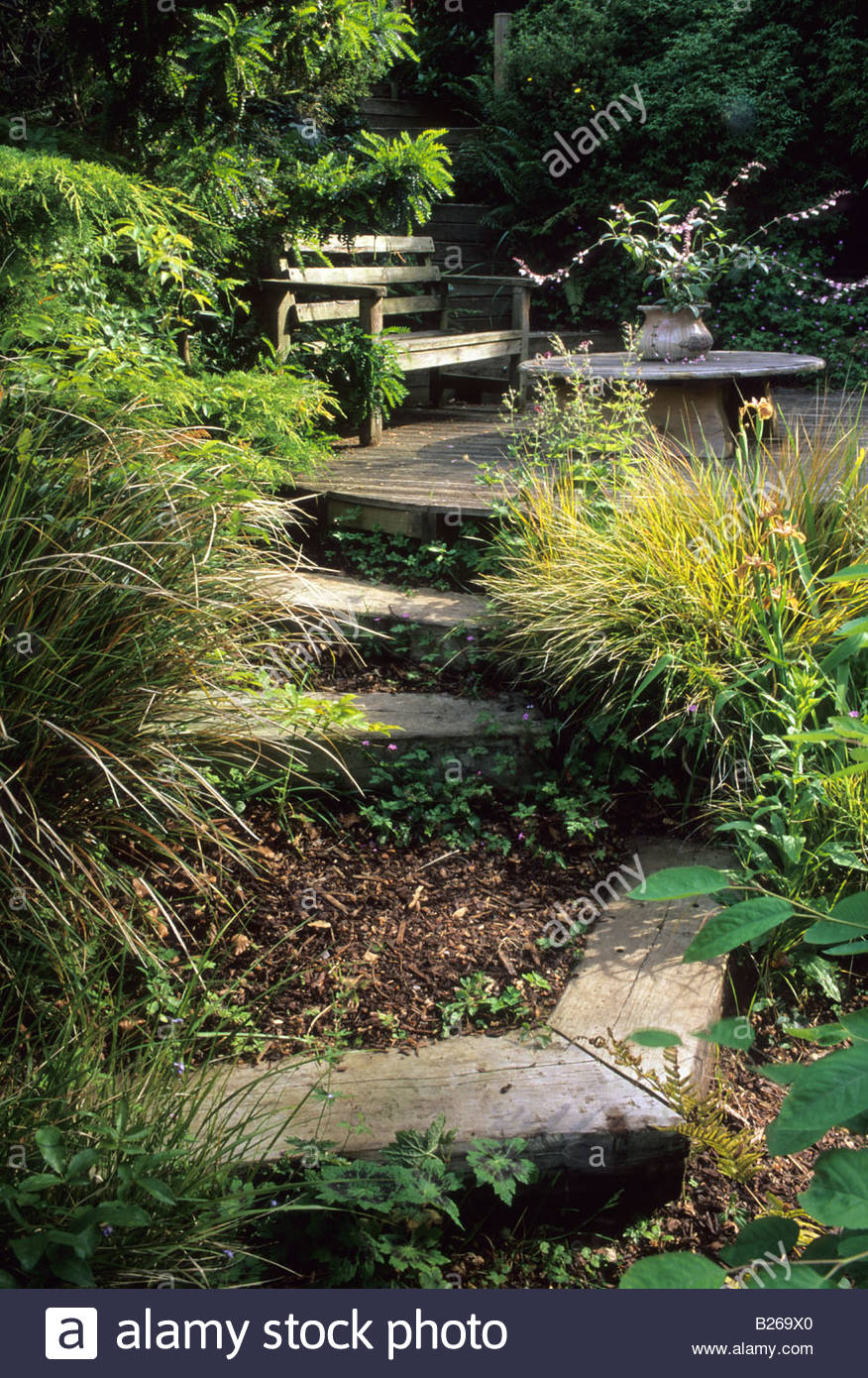 brownshill gloucestershire design pamela woods railway sleepers and mulch filled step in steeply sloping garden stock