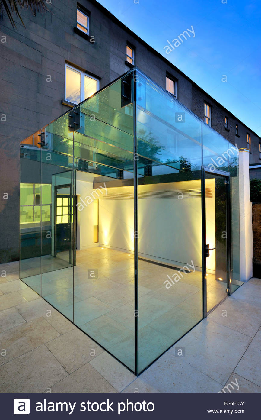 Glass Box Conservatory Extension At Night