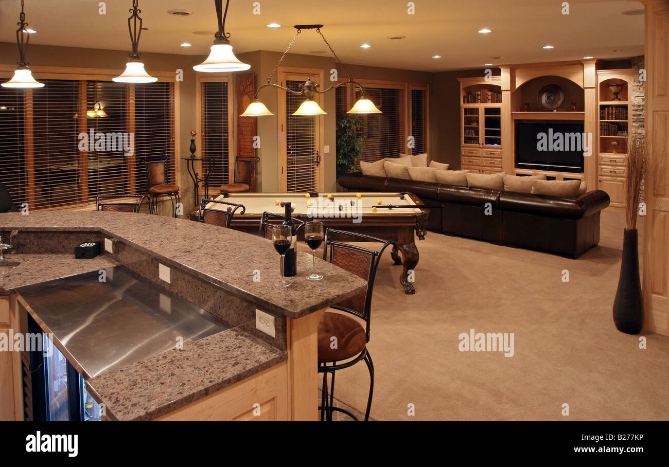 Bar Pool Table And Entertainment Area Of An Executive Home