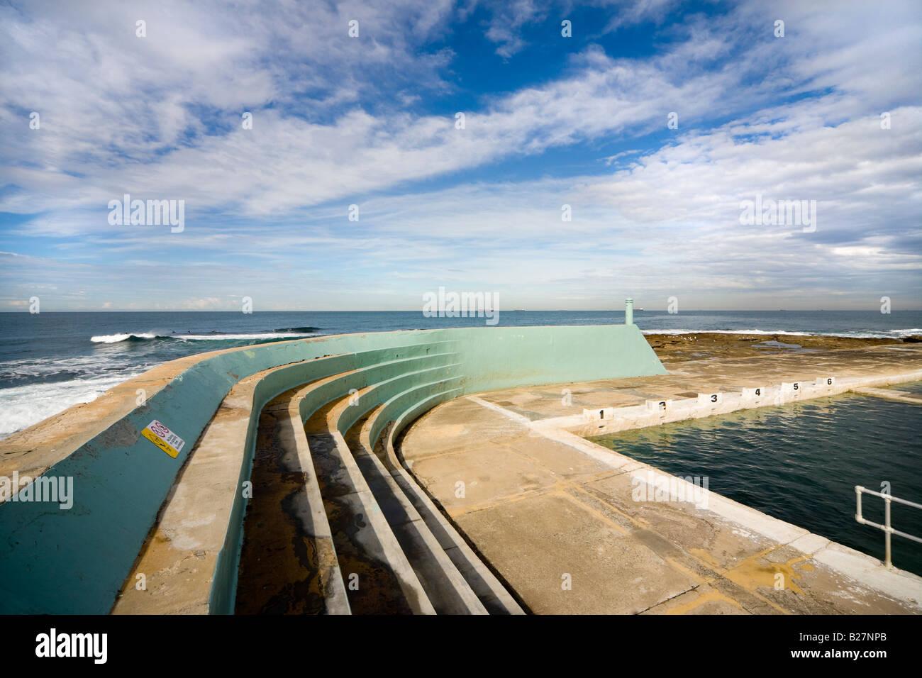 art deco style ocean baths lido in newcastle, nsw, australia stock