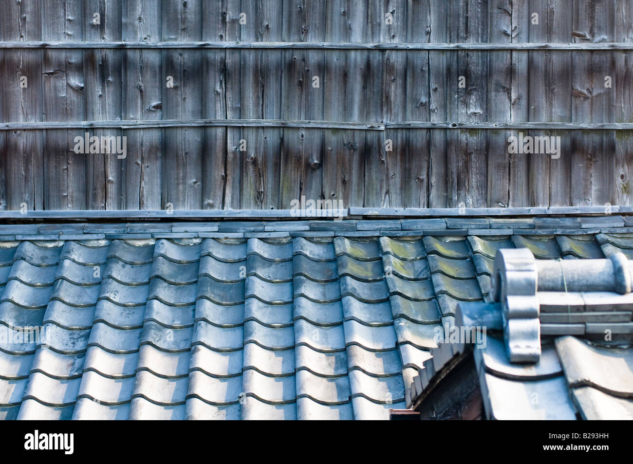 Traditional Japanese Ceramic Roof Tiles With Wooden
