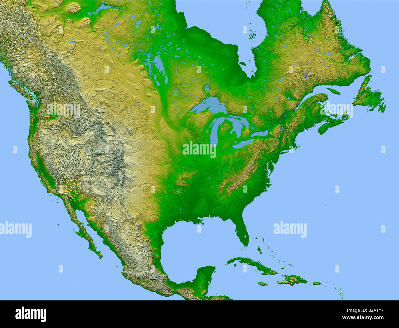 high definition weather satellite view of North America map Stock