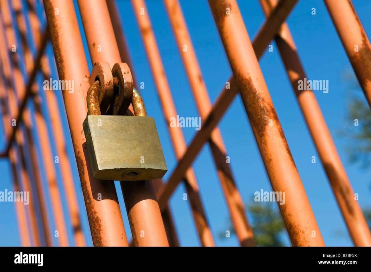 Rusty cage door with padlock & Rusty cage door with padlock Stock Photo Royalty Free Image ... Pezcame.Com