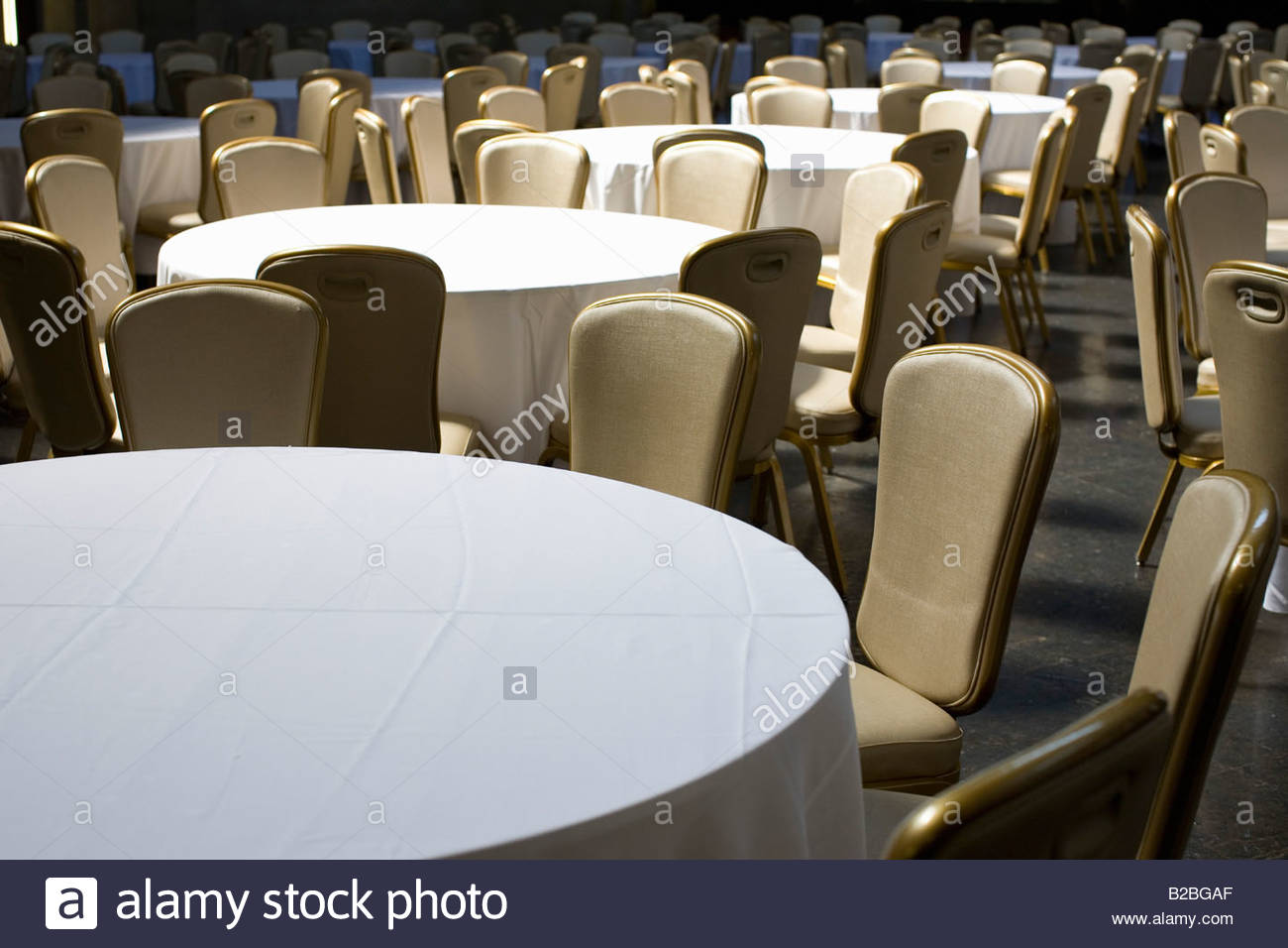 Empty banquet tables and chairs Stock Royalty Free Image