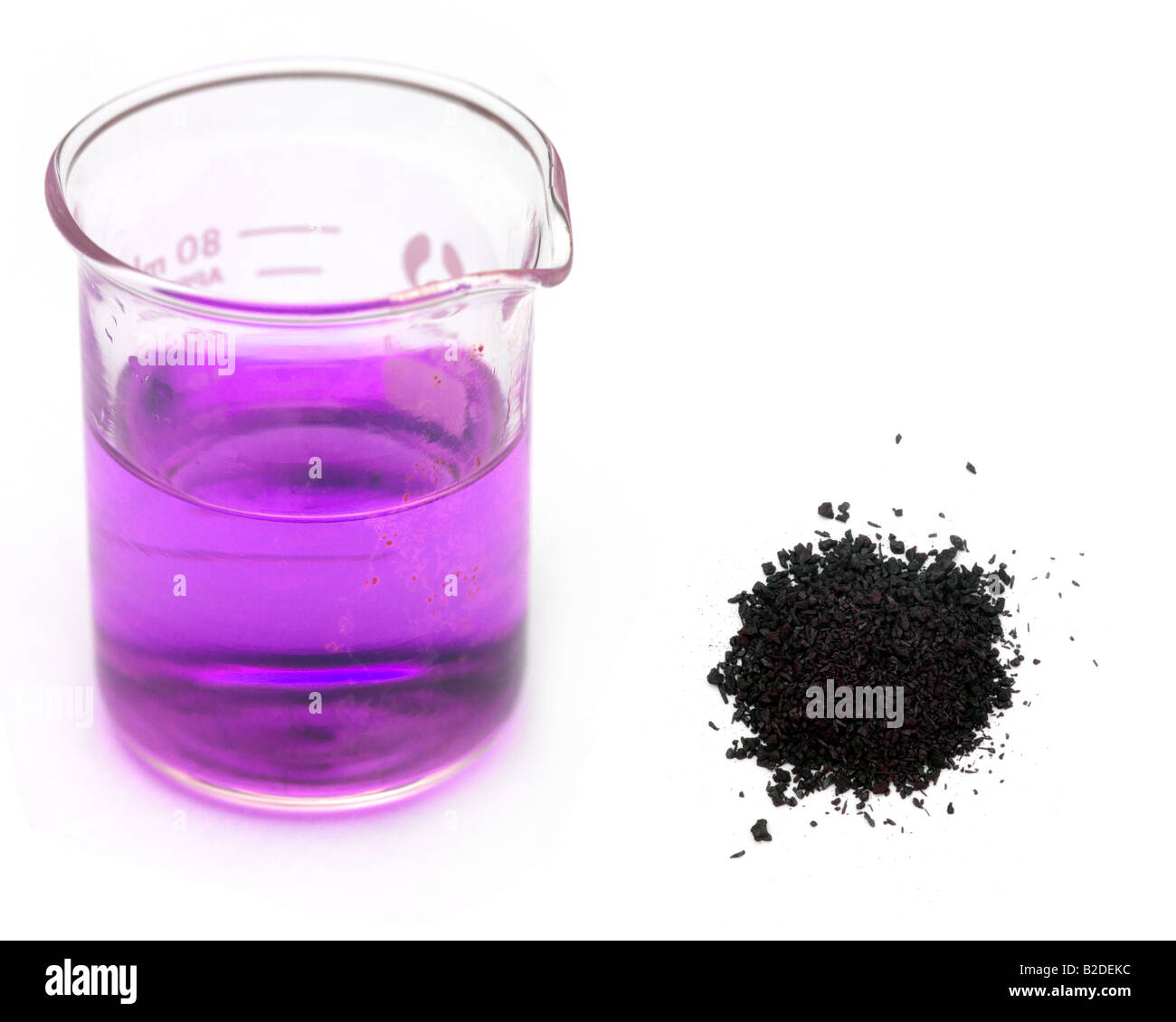 diffusion of potassium permanganate crystals in Sodium thiosulfate crystals (or any commercial  parasieten, quarantaine, koipond,koi pond, biological balance, potassium, potassium permanganate, filter.