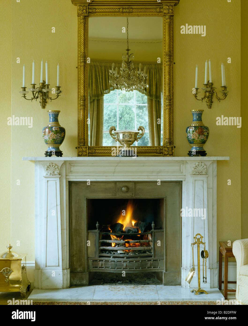 Georgian over mantel mirror above marble fireplace with for Mirror for above fireplace mantel