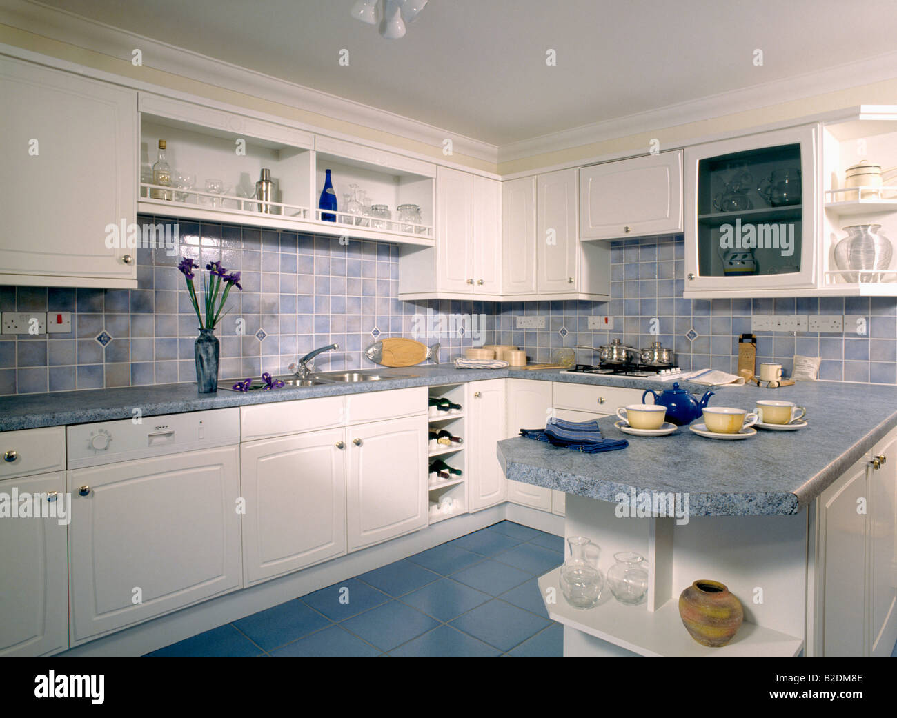 Kitchen Tiled Splashback Grey Worktops And Splashback Tiles In White Eighties Kitchen Stock