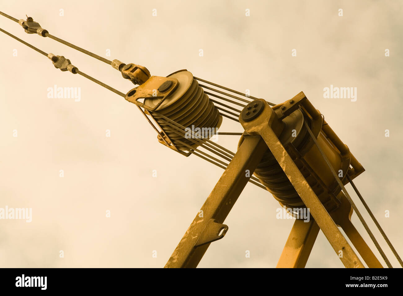 Pulleys In Cranes : Pulley system on crane stock photo royalty free image