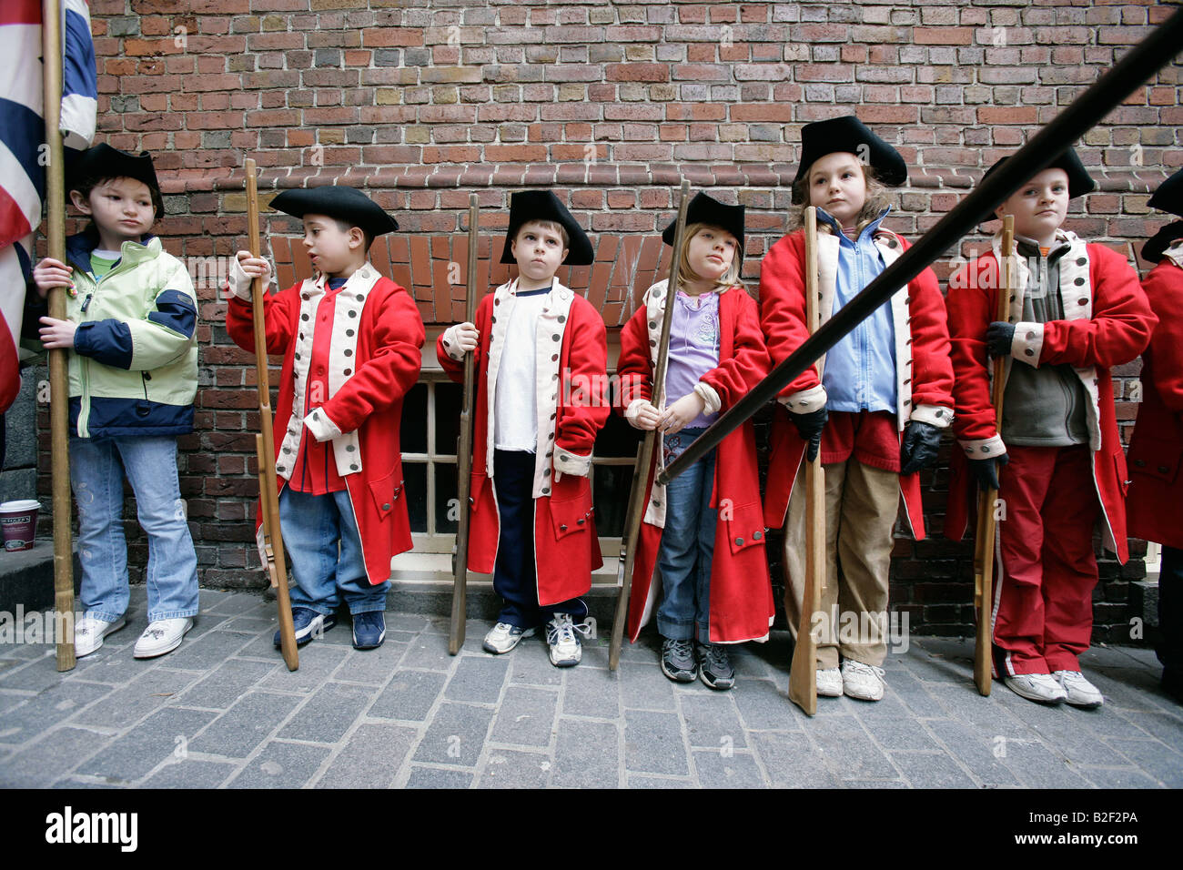 Children Dress Up As Red Coats During A Reenactment Of The Boston