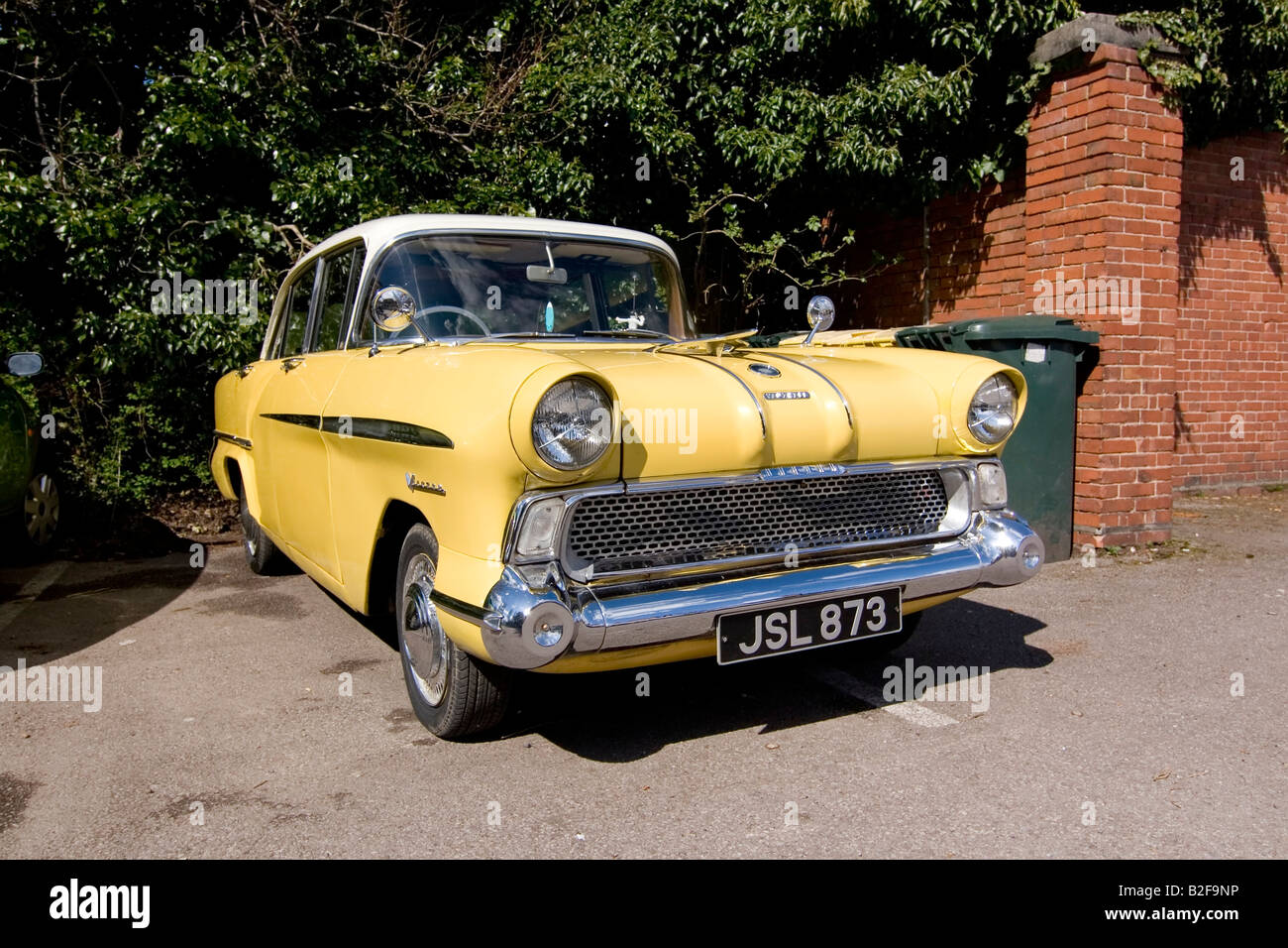 Old-fashioned car parked in driveway, Vauxhall Victor vintage ...