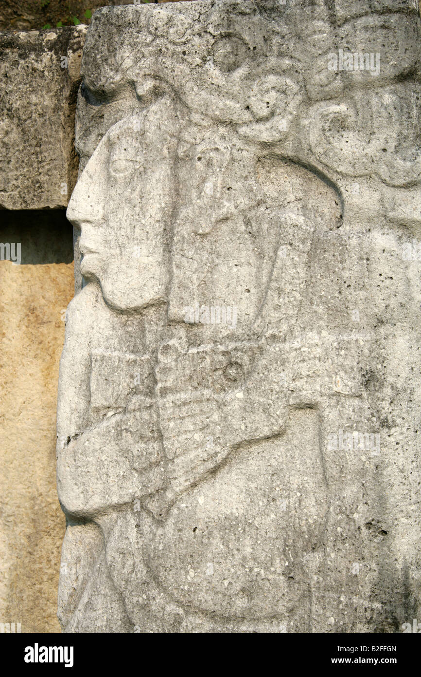 Stone relief carving on the walls of palace palenque