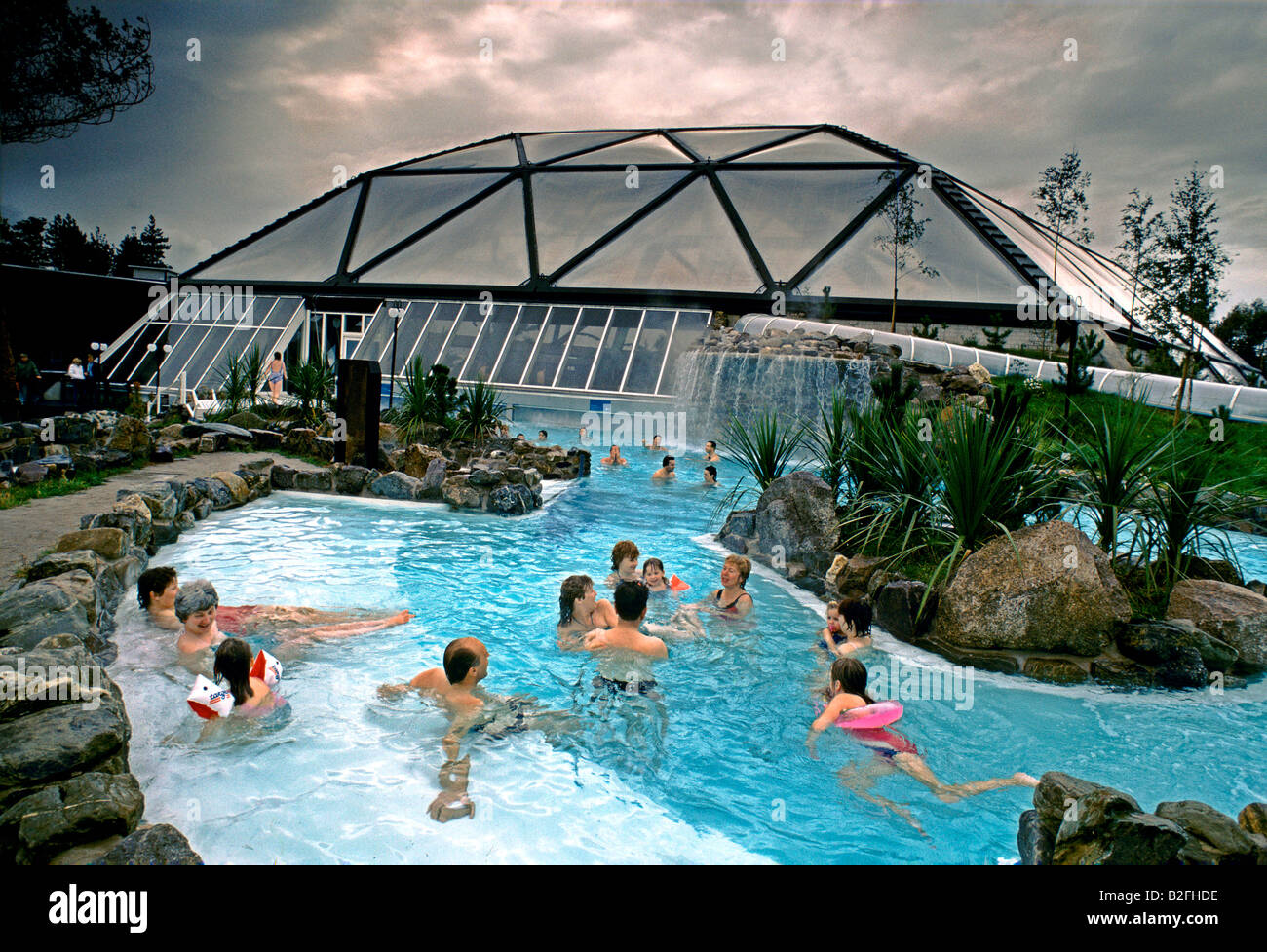 Holidaymakers Swimming Outside Transparent Holiday Glass Dome In Stock Photo Royalty Free Image
