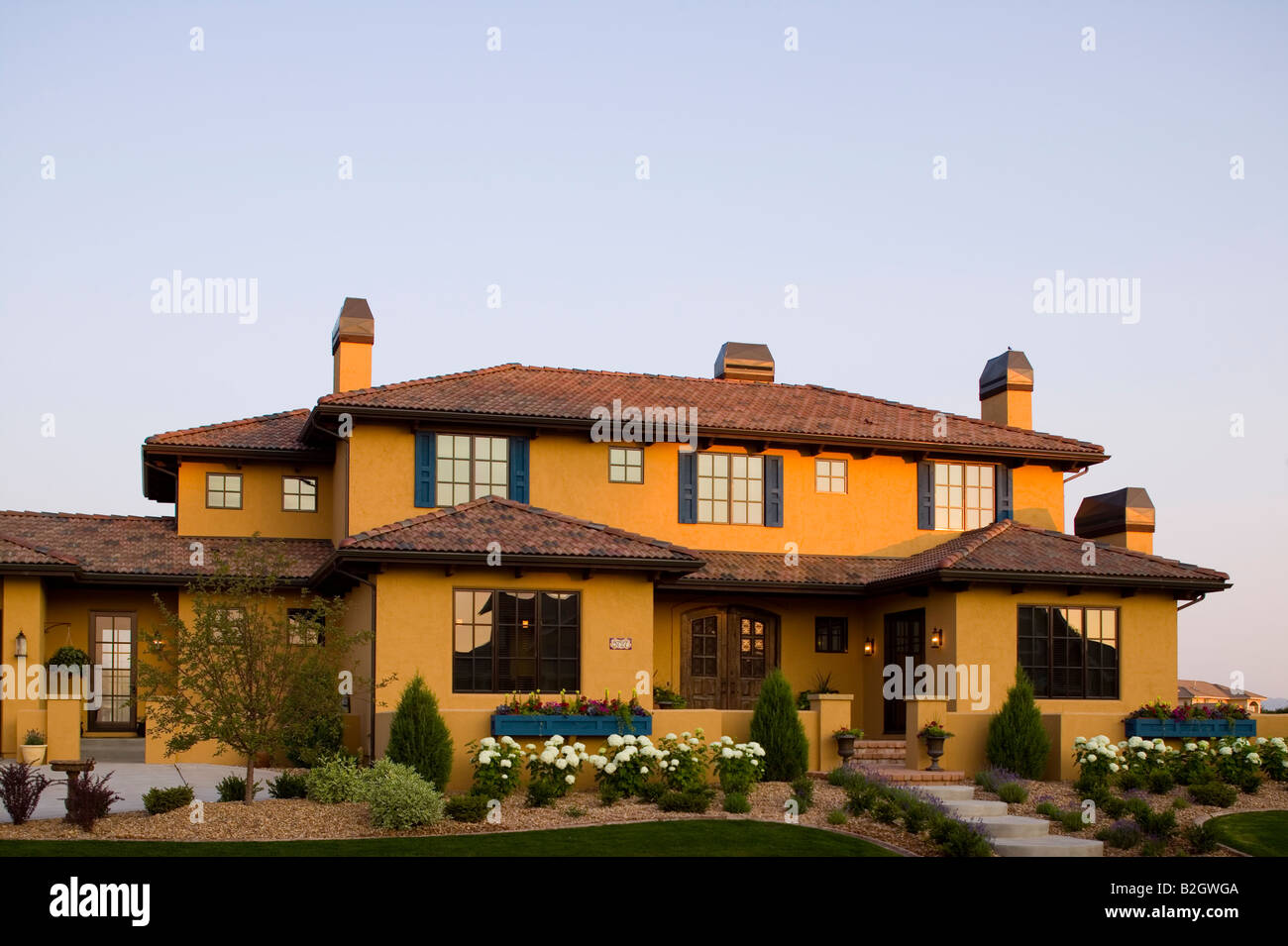 Tuscan Style Home luxury tuscan style home exterior at sunrise located in fort