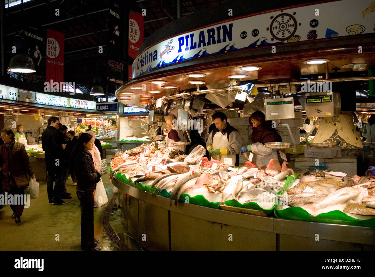 La boqueria fish market woman sell fish in barcelona stock for La fish market