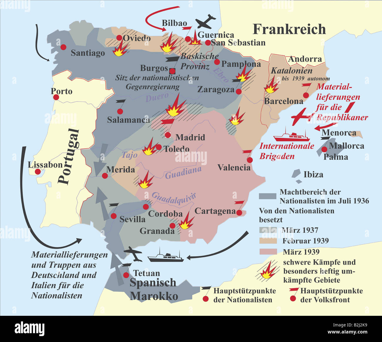 Cartography Historical Maps Spain Civil War - Spain historical map