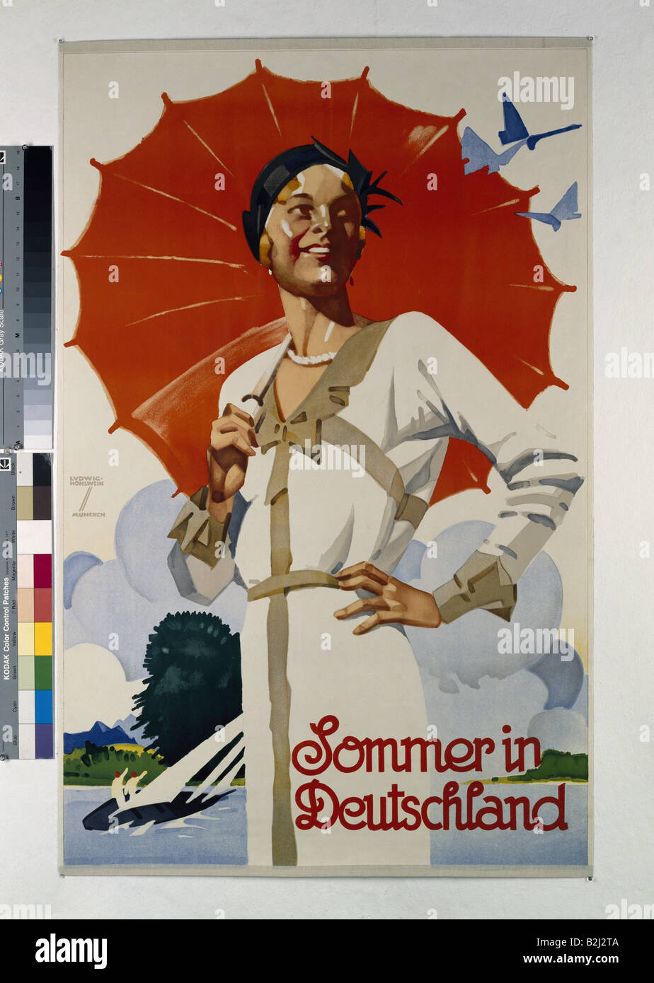 Poster design 1920s - Stock Photo Advertising Tourism Sommer In Deutschland 1920s 20s Poster Design By Ludwig Hohlwein 1874 1949 Fine Arts Summer