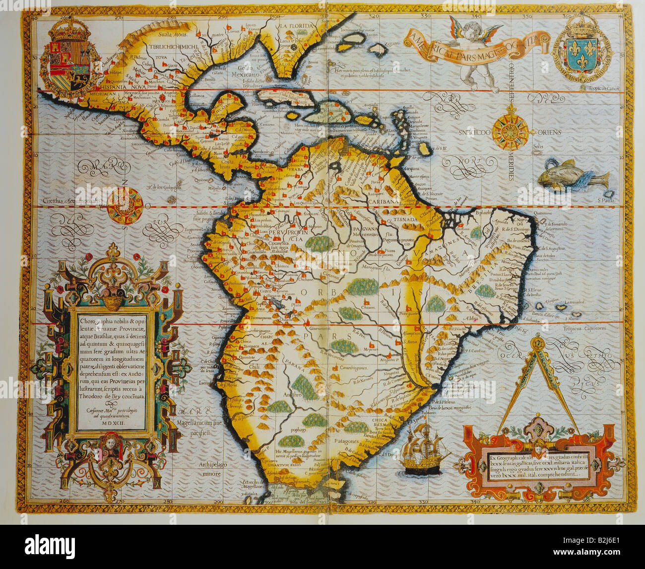 cartography maps south america coloured copper engraving stock