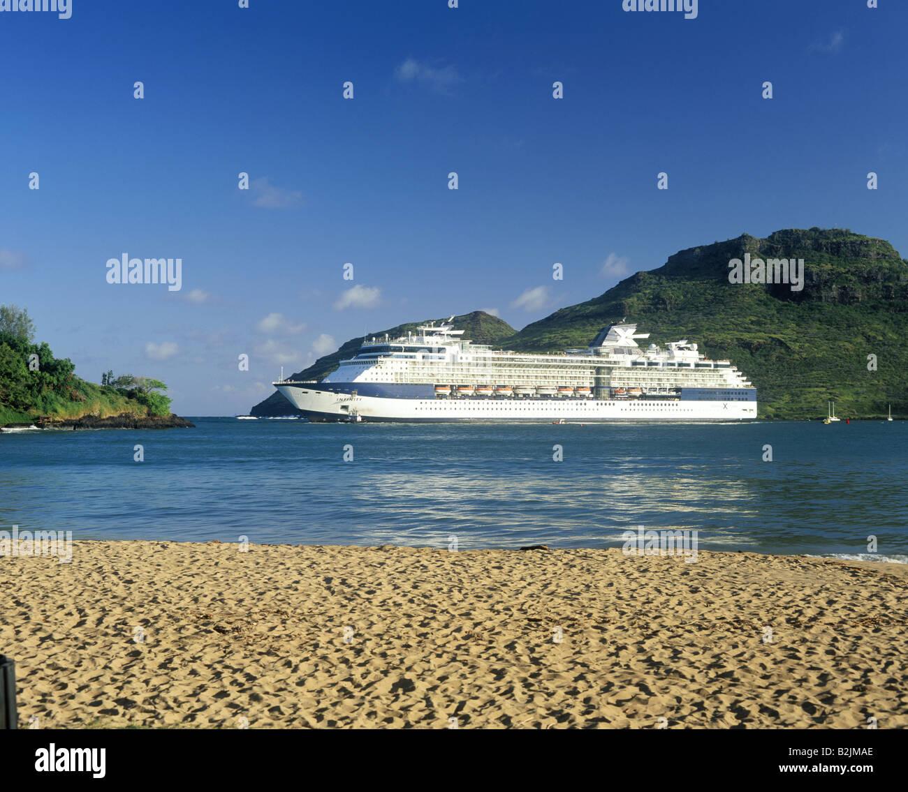 Lihue Port Large Cruise Ship Departing Sandy Beach Sunset KAUAI - Hawaiian islands cruise